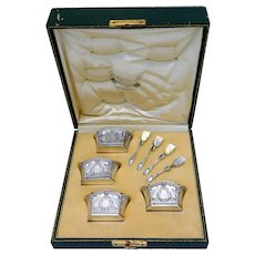 Lapparra Masterpiece French Sterling Silver 4 Salt Cellars, Spoons, Original Box, Empire, Baron Gerard