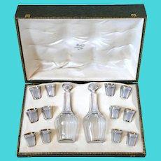 Deflon French Sterling Silver 18k Gold Liquor Set 14 Pc, Original Box