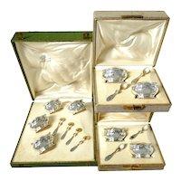Puiforcat Rare French Sterling Silver 18k Gold Set 8 Salt Cellars, Boxes, Mimosa