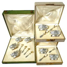 Puiforcat Rare French Sterling Silver 18k Gold Set 8 Salt Cellars, Boxes, Mistletoe