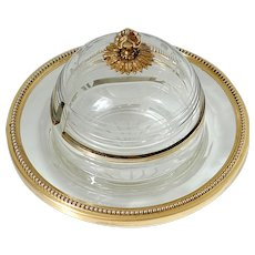 Rare French Sterling Silver 18k Gold Engraved Crystal Caviar Pot, Empire
