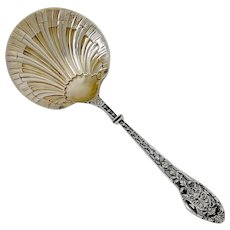 Puiforcat Masterpiece French Sterling Silver 18k Gold Strawberry Spoon, Mascaron, Renaissance