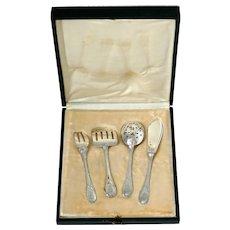 Puiforcat French Sterling Silver Dessert Hors D'oeuvre Set 4 Pc, Original Box.