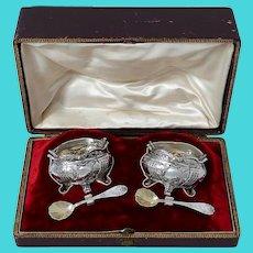 Leneuf French Sterling Silver 18k Gold Salt Cellars Pair, Spoons, Original Box