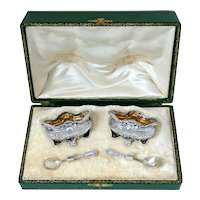 Page French Sterling Silver 18k Gold Salt Cellars Pair, Spoons, Original Box