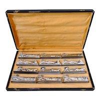 Art Deco French Silver Knife Rests Set 12 Pc, Hunter, Fisherman, Farmer, Original Box