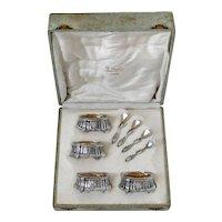 Lefebre French Sterling Silver 18k Gold 4 Salt Cellars, Spoons, Original Box