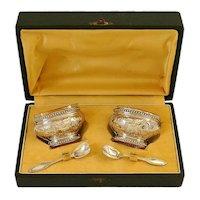 Bergeron French Sterling Silver 18k Gold Salt Cellars Pair, Spoons, Original box