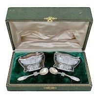 Coureau French Sterling Silver 18k Gold Salt Cellars Pair, Spoons, Original box, Musical instrument