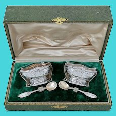 Coureau French Sterling Silver 18k Gold Salt Cellars Pair, Spoons, Original box, Musical instrument