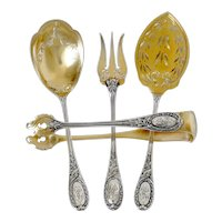 Puiforcat French Sterling Silver 18k Gold Dessert Hors D'oeuvre Set4 Pc, Original Box, Neoclassical