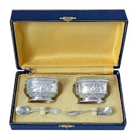 Brille French Sterling Silver 18k Gold Salt Cellars Pair, Spoons, Box, Empire, Swan