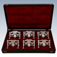 Rare French all sterling silver menu, place, name holders six pieces box, Cherub