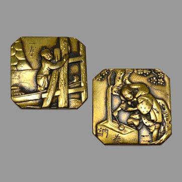 Antique Japanese Meiji era monk/peasant scene bronze square collar stud button covers cuff links