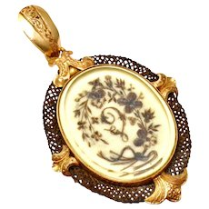 Antique Victorian 18k gold floral initial woven and palette brunette hairwork pendant