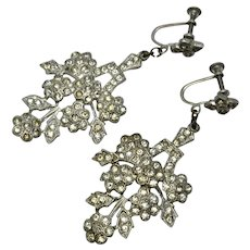 Art Deco large floral pot metal clear rhinestone earrings