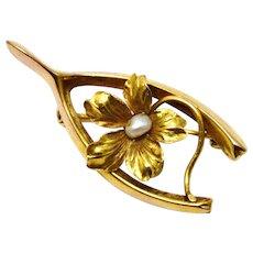 Antique Victorian 10k gold pearl centered flower wishbone brooch