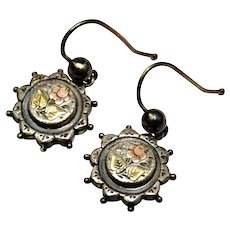 Antique Victorian English sterling silver yellow and rose gold floral pierced earrings