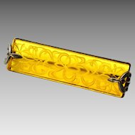 Vintage Art Deco etched scroll pattern yellow glass rectangular brooch