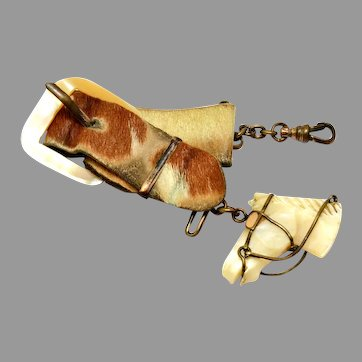 Victorian gold filled carved mother of pearl horse head pendant on cowhide leather buckle watch fob