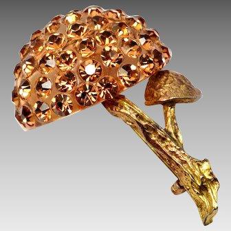Vintage Forbidden Fruit orange rhinestone lucite mushroom brooch