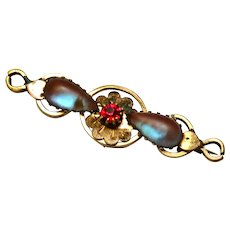 Victorian gold filled saphiret art glass red paste brooch pin
