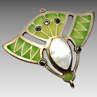 Antique Art Nouveau Depose 900 silver signed green plique a jour enamel pearl pendant
