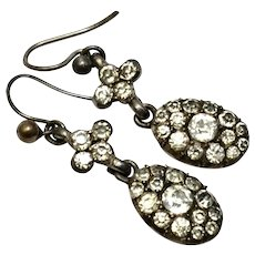 Georgian silver clear paste drop earrings