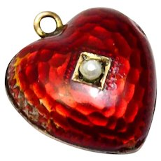 Victorian gold filled red guilloche enamel pearl puffy heart charm
