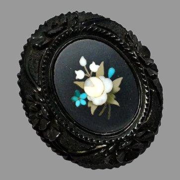 Victorian rose and forget-me-not pietra dura in carved Whitby jet frame oval brooch pin