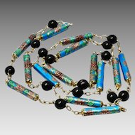 Vintage Chinese silver signed floral blue enamel tube and black glass bead necklace