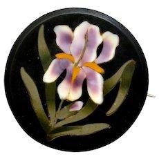 Victorian iris flower pietra dura round mourning brooch pin