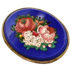 Victorian pink rose micro mosaic in blue glass oval sterling frame brooch pin