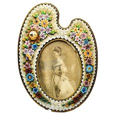 Victorian raised micro mosaic floral palette shaped picture frame