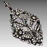 Antique Edwardian large German 935 silver signed clear paste floral pendant