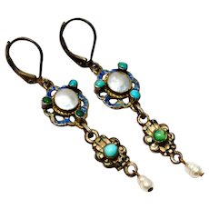 Antique Austro Hungarian silver mabe pearl turquoise drop earrings
