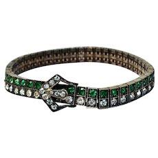 Vintage Art Deco Diamonbar sterling silver green clear rhinestone buckle link bracelet