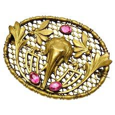 Art Nouveau exotic elephant pink glass mesh sash pin brooch