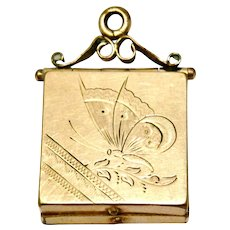 Victorian gold filled etched butterfly square watch fob locket pendant