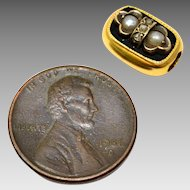 Antique Victorian 14k gold diamond pearl black enamel slide charm