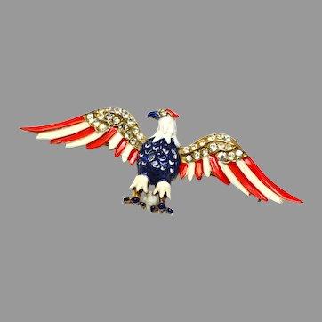 Reja sterling signed vermeil WW2 patriotic rhinestone red blue enamel eagle brooch pin