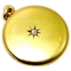 Antique Victorian 10k gold diamond set round locket pendant