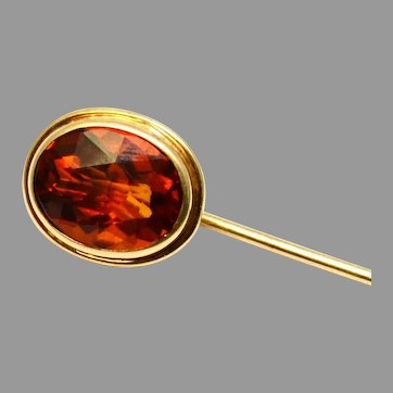 Victorian 14k gold hallmarked frame oval faceted citrine stick pin stick pin brooch
