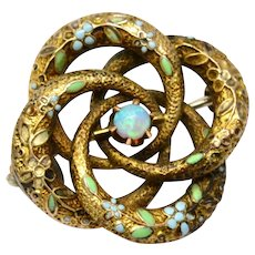 Antique Victorian 10k gold floral enamel opal lovers knot brooch pin