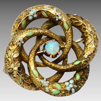 Antique Victorian 10k gold floral enamel opal lovers knot brooch pin
