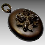 Antique Victorian gutta percha vulcanite deep brown acorn locket pendant
