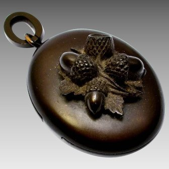 Antique Victorian gutta percha vulcanite deep brown acorn locket pendant