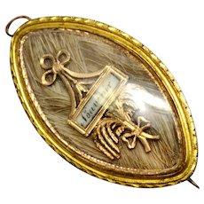 Georgian gold filled 'souvenir' hair under glass memorial mourning pendant brooch
