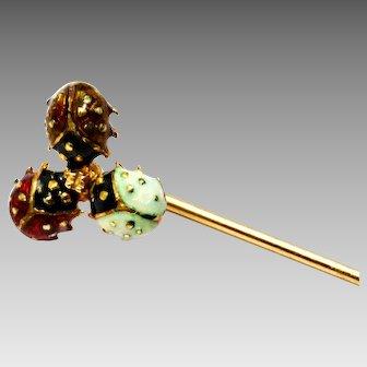 Vintage 14k gold hallmarked enamel ladybug trio stick pin brooch