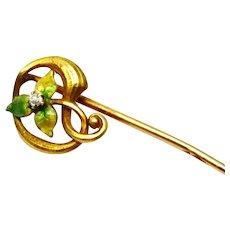 Art Nouveau 14k gold diamond green enamel leaf stick pin